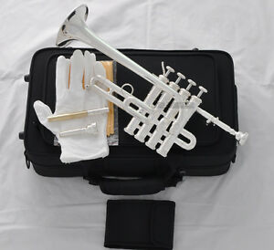 Professional-Silver-Plated-Piccolo-Trumpet-Bb-A-horn-4-Monel-valves-With-Case