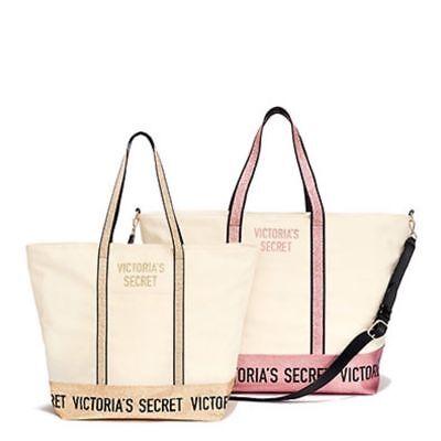 2 VICTORIAS SECRET GOLD TOTE & PINK SPARKLE GLITTER WEEKENDER CARRYALL BAG NEW | eBay