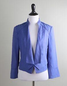 WHITE HOUSE BLACK MARKET NWT $120 Modern Crop Open Linen Jacket Top Size 8