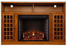 Southern Enterprises Narita Media Console with Electric Fireplace, Glazed Pine
