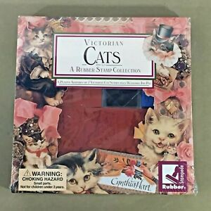 Victorian-Cats-7-Rubber-Stamps-Collection-Set-Rubber-Stampede-vintage-new-sealed