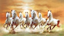 """42x24inch"" Seven 7 Running Horses Vastu & Feng shui oil painting's Print"