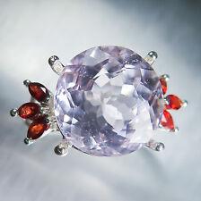 11.25ct Luz Natural Rosa Kunzita spodumen & Zafiros Anillo de plata esterlina 925