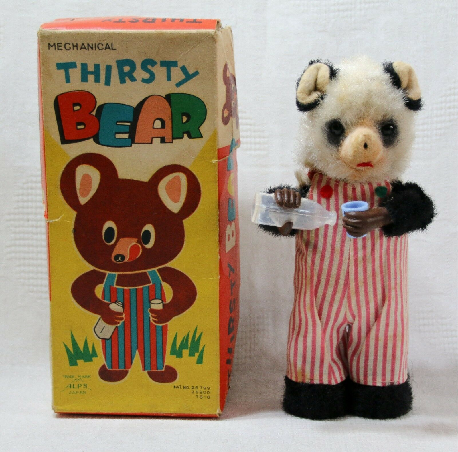 Vintage 1950s ALPS Japan - Mechanical Wind-Up Panda 'Thirsty Bear' - Boxed