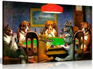 Pokers Dogs Playing Cards C. M. Coolidge Canvas Wall Art Picture Print