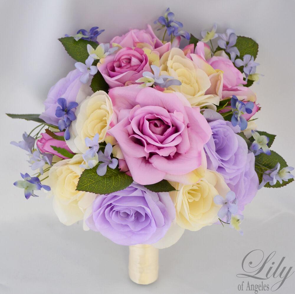 17pcs Robe de Mariage Bouquet Set De Soie Décoration Fleur Paquet Lavande Ivoire