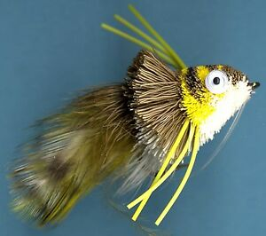 Mini-Diver-Hair-Frog-Olive-Gold-Yellow-White-Fly-Fishing-Bass-Fly