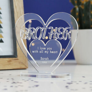 Image Is Loading Personalised Heart With Message Ornament Keepsake Brother Birthday