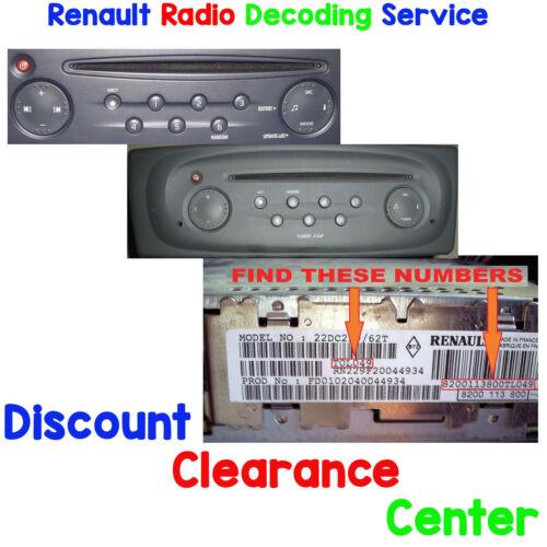 Renault Clio 01-07 MK2 FÁBRICA SINTONIZADOR actualizar lista Coche Radio Estéreo código de desbloqueo