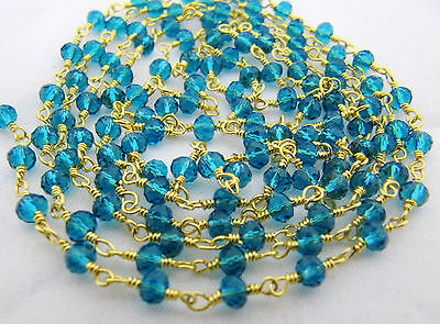 Blue Hydro Gemstone Gold Plated Beaded Rosary Wire Linked Jewelry Making Chain