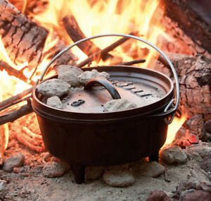 Details about Lodge 2-Quart Cast Iron Dutch Oven Camping Cookware Outdoor  Cooking Pot Fire 2q