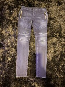 Details about MENS BALMAIN SLIM ZIPPED BIKER JEANS