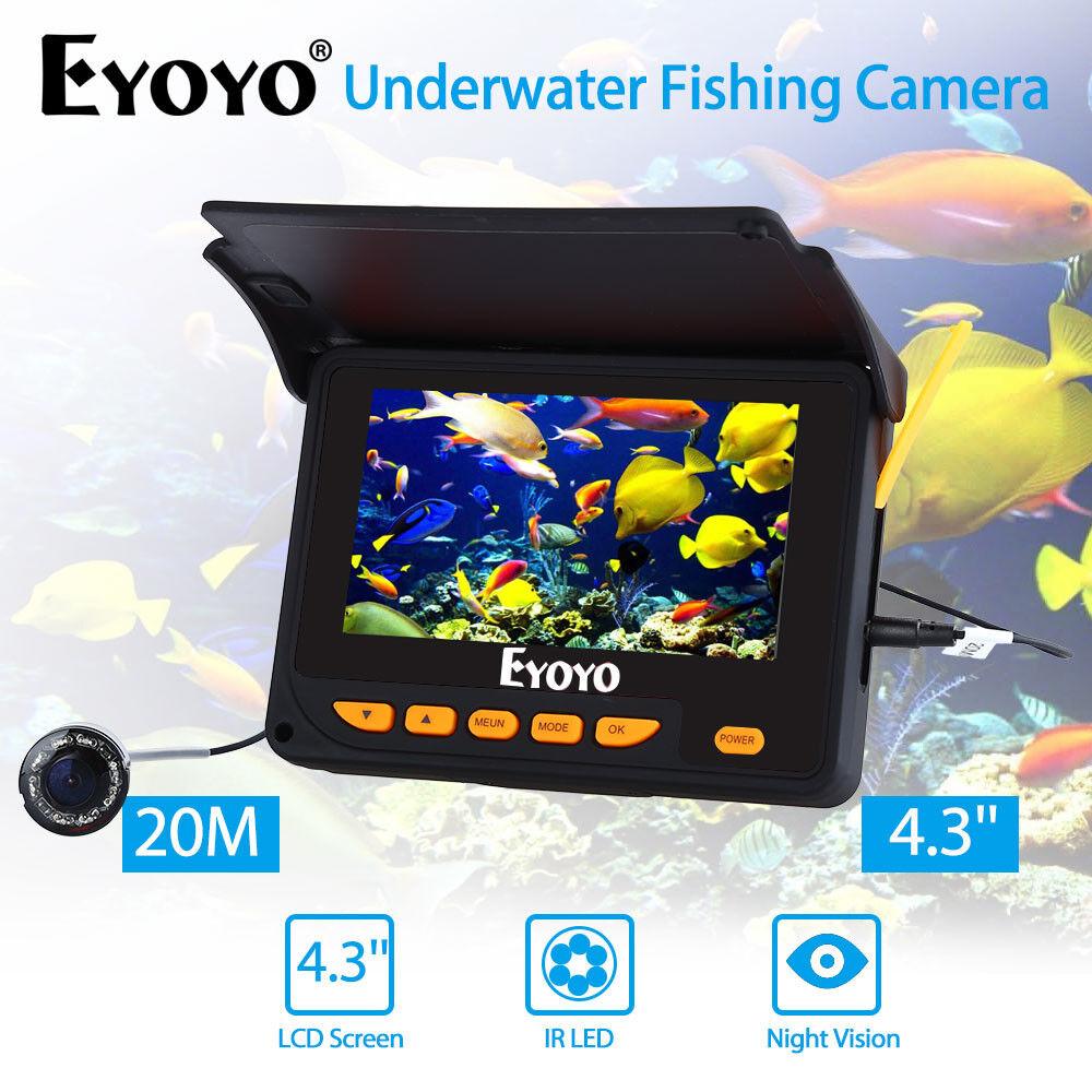 EYOYO 4,3  20 Mt Unterwasserfischen Kamera 1000TVL 8 x IR Fish Finder +Sunvisor
