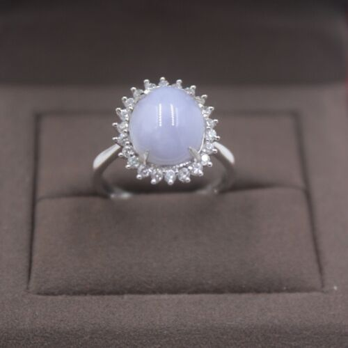 New 925 Sterling Silver with Natural Lavender Jadeite Oval Lady Ring Size:5-10