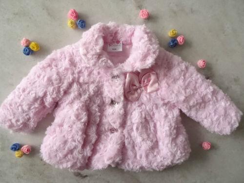 Bebé Niñas Rosa Suave Deluxe Rosebud chaqueta Satin Forrado Talle 0-3-6-9 Meses