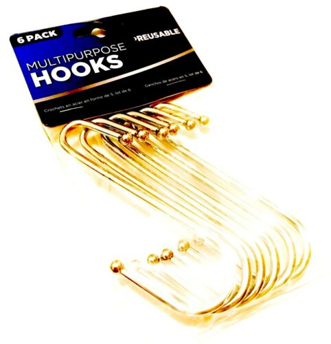 Pack Of 6 Stainless Steel S Hooks Kitchen Meat Pan Utensil Clothes Hanging