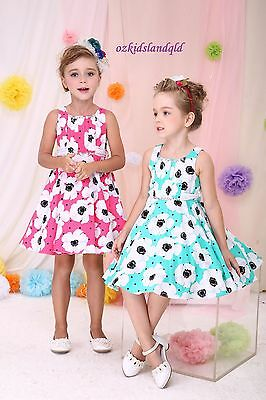 Premium Kids Girls Cotton Dresses sizes 3Y-12Y #6203 TWO colors:green /&Magenta