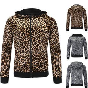 Men-039-s-Print-Leopard-Graphics-Sweatshirt-Jacket-Pullover-Hoodie-Sweater-Tops-New
