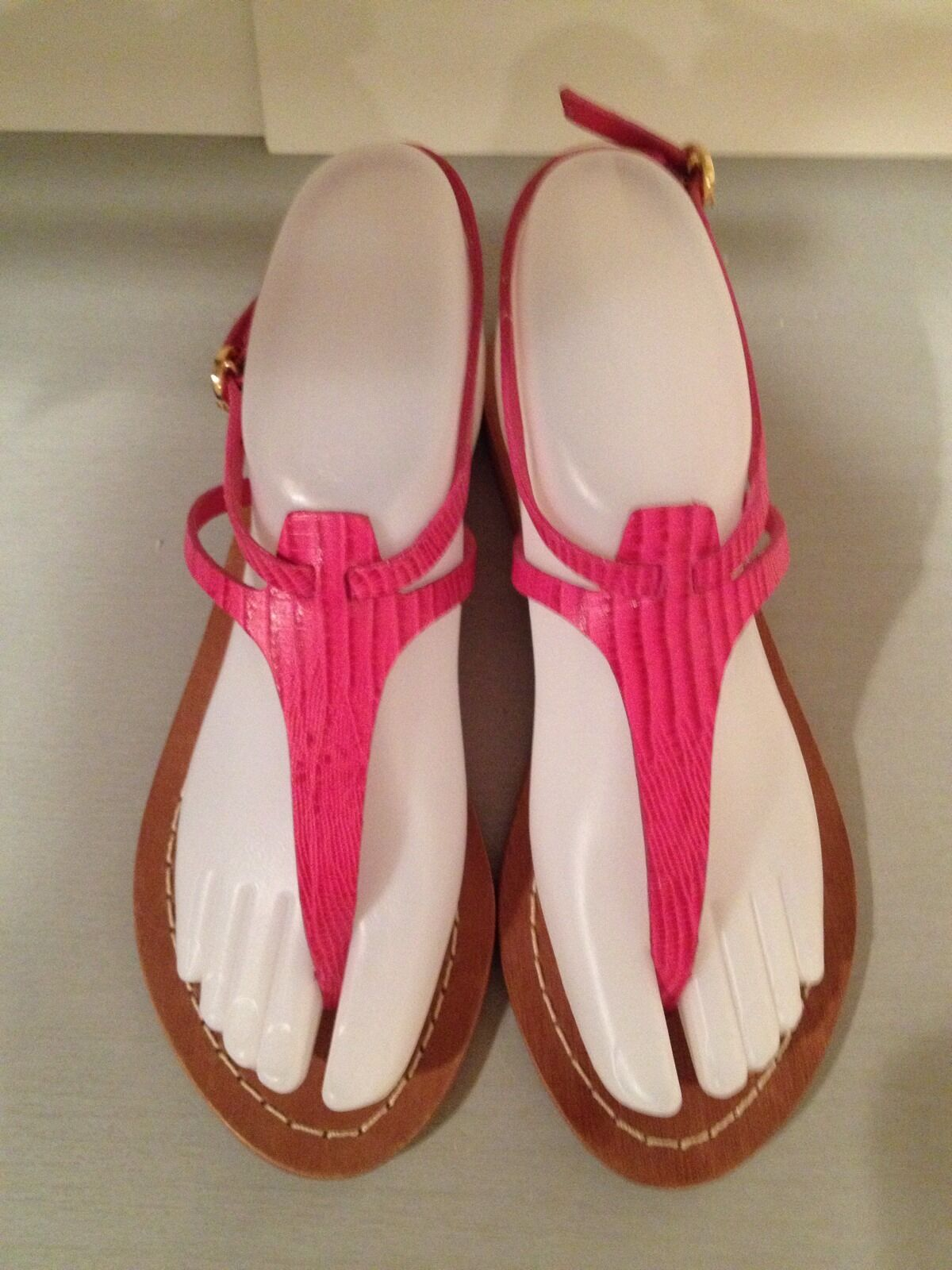 Alice & Olivia Bria Sandals Flat Flip Flops Leather Hot Pink 37/6.5 M New $220