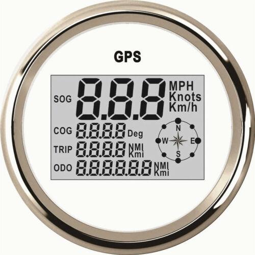 1pc Digital Odometer Gauges 85mm 0-999km//h Knots MPH White GPS Speedometers Cog
