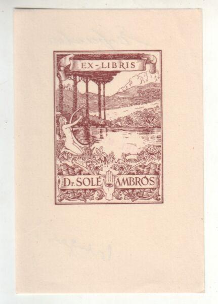 100% De Calidad Ex Libris Medécine Gravure Dr Solé Ambros Bookplate Modelado Duradero