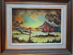 Nice-Stan-Johns-oil-on-board-paintings-034-Charlies-old-farm-034-26cm-x-18cm