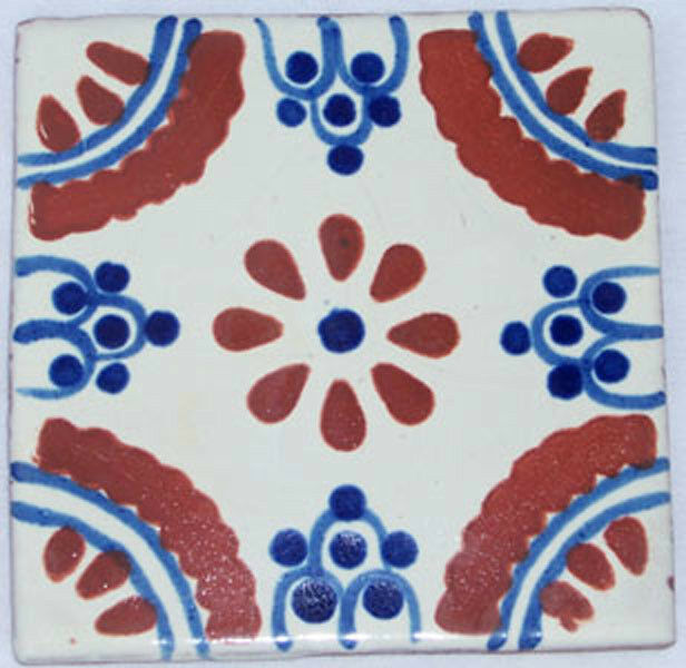 C029- Mexican Handmade Talavera Clay Tile Folk Art 4x4