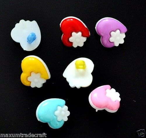 20pcs assorted nylon heart white flower buttons approx 15mm for kids