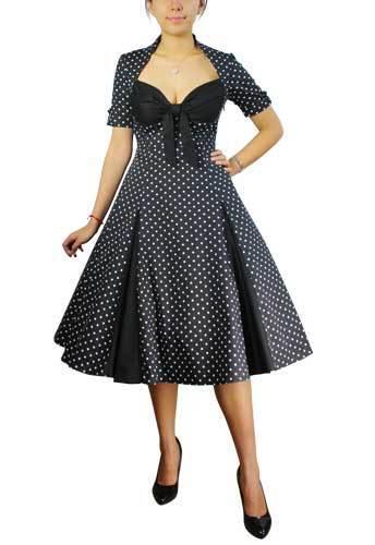 Plus Size Black Rockabilly Retro 50's Polka Dot Swing Dress 1X 2X 3X 4X