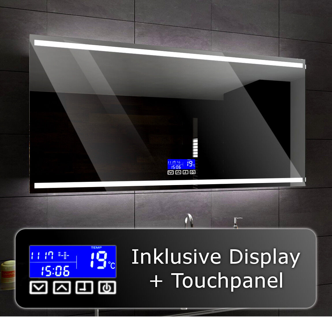 Illuminated Led bathroom mirror To Measure DENVER + LCD TOUCH Control Panel