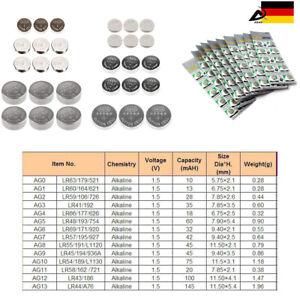 10er Blister Knopfzellen Uhr Batterien Ag0, Ag3, Ag4, Ag5, Ag10, Ag13, Alkaline ZuverläSsige Leistung