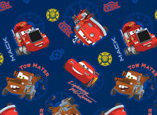 DISNEY PIXAR CARTOON CARS ALLOVER  100% COTTON FABRIC LIGHTNING MCQUEEN  YARDAGE
