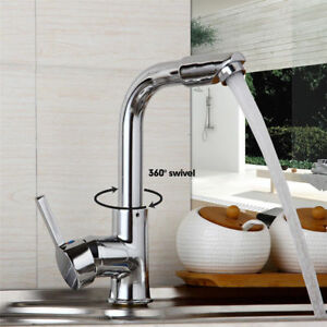 360-Swivel-Chrome-Kitchen-Faucet-Sink-Spout-Taps-Spray-Basin-Bathroom-Mixer