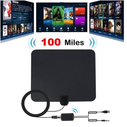 100 Miles Indoor Digital TV Antenna with Signal Amplifier Booster HDTV Antena  X