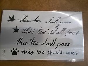 Sheet Of Temporary Script Tattoos This Too Shall Pass Brand New