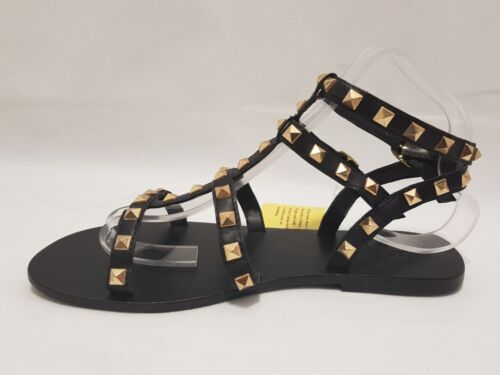 Black 6 New Diva Uk Sole Sandals Gold And EvSwqnU