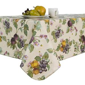 Fresco Fruit Flannel Backed Vinyl Tablecloth Oblong ...