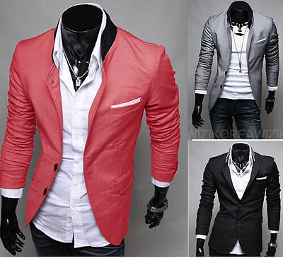 Men Stylish Blazer Chinese Tunic Suit Stand Collar Coat US Seller