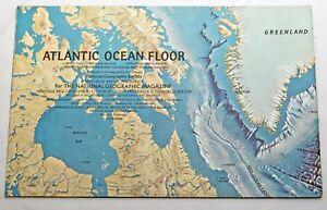 Vtg 1968 Map Atlantic Ocean Floor