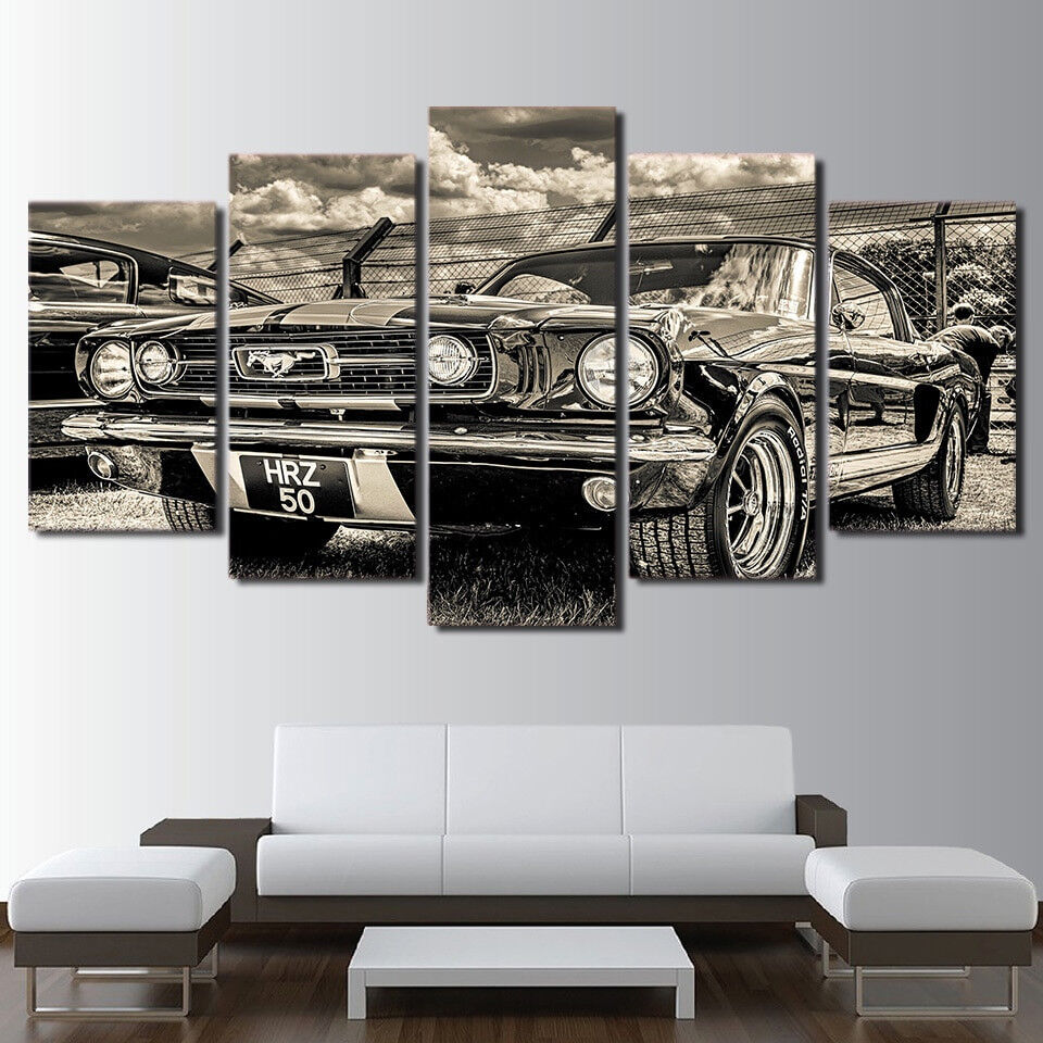 Vintage Car Dodge Challenger 5 Piece Canvas Print Wall Art