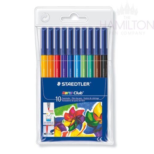 Wallet of 10 assorted colour pens STAEDTLER NORIS CLUB FIBRE TIP PENS
