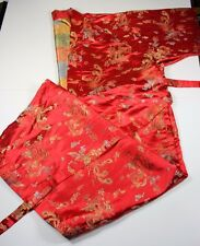 Red Kimono XL Embroidered Dragons Flowers with Belt China Long Cosplay Robe Wrap