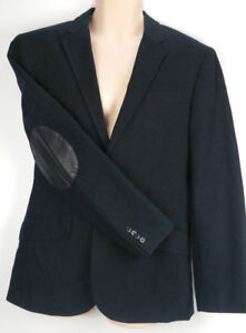 Armani-Exchange-A-X-Sportcoat-Blazer-Suit-Jacket-Black-Pinstripe-Elbow-Patch-40
