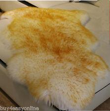 Real Australia Single Pelt 2'x3' Sheepskin Rug Bedroom White with Gold Tip Rug