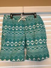 KANU Surf Women's Board Shorts Size 12 Lagoon Green Print Surfer Style Cover Up