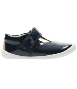 Toddler-First-Steps-Clarks-Roamer-Go-Navy-Patent-Shoes-Size-UK-2G-RRP-26