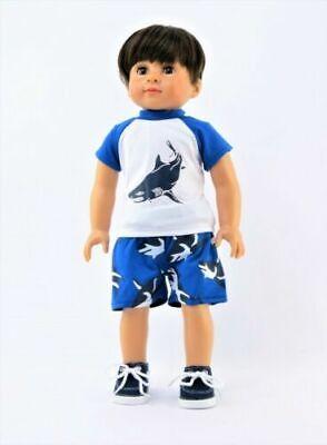 "Denim Cargo Shorts with /""D/"" Ring Fits 18/""American Girl Doll Boy Logan"
