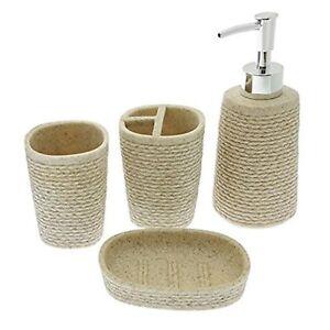 Details about 4PCS BATHROOM ACCESSORY SET CERAMIC SOAP DISPENSER TOOTHBRUSH HOLDER LUXURY SET