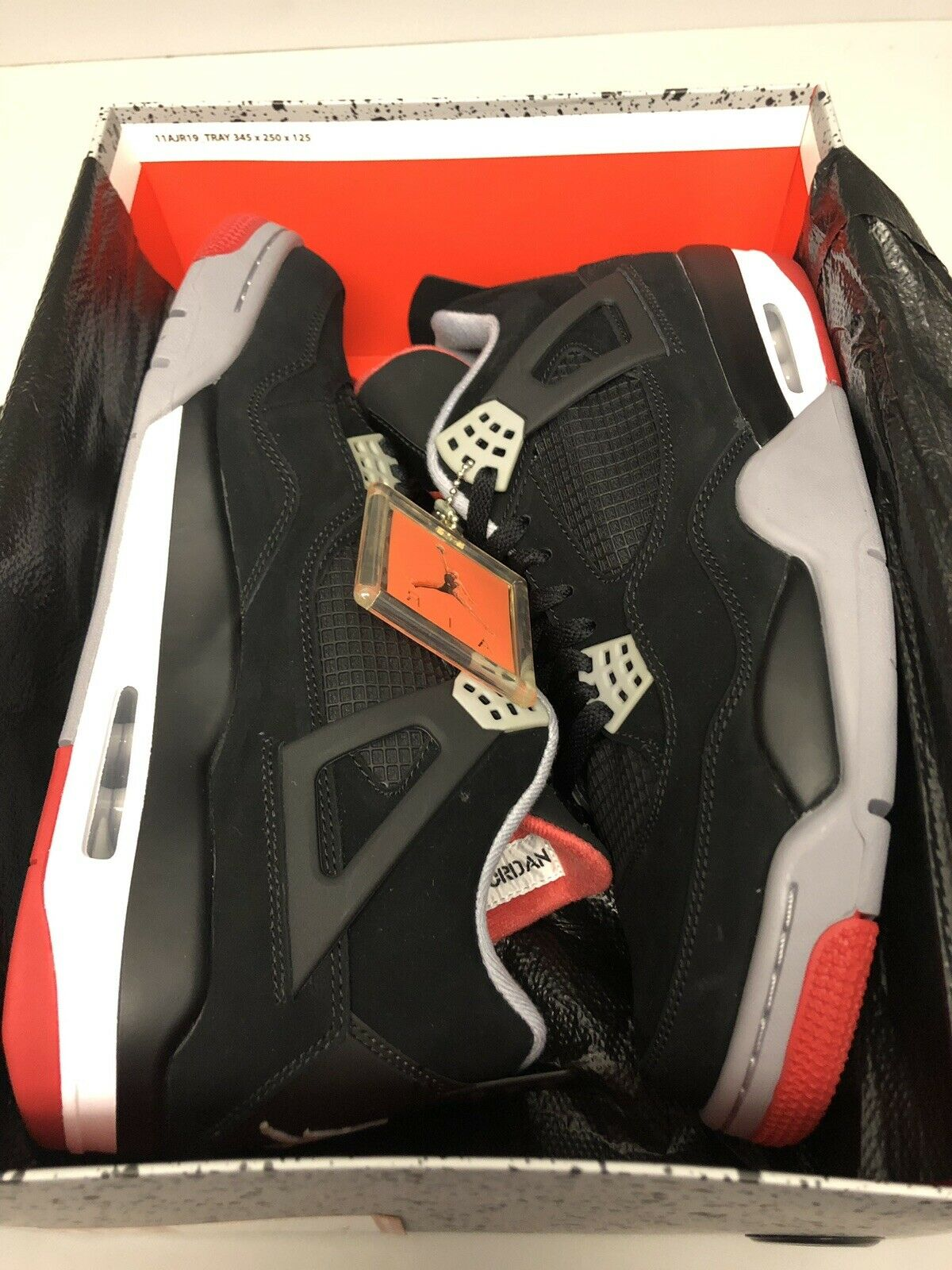 NIKE AIR JORDAN RETRO 4 BLACK CEMENT GREY FIRE RED DS SIZE 12 2012