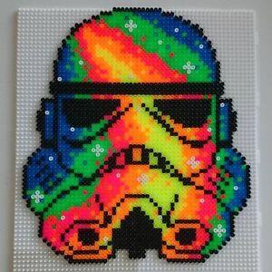 Stormtrooper perler art necklace kandi rave edm plur sprite hama melty star wars